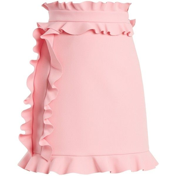 MSGM Ruffle-trimmed crepe mini skirt ($239) ❤ liked on Polyvore featuring skirts, mini skirts, pink, flounce skirt, ruffled skirts, high waisted skirts, short ruffle skirt and pink high waisted skirt