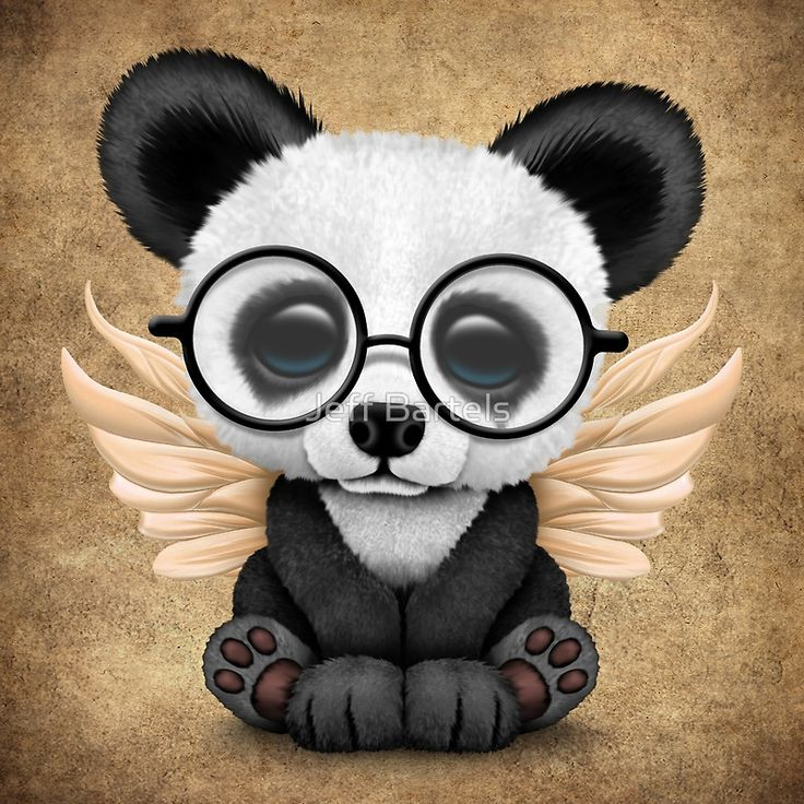 Cute Panda Cub with Fairy Wings and Glasses