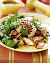 Grilled Chicken and Watercress Salad with Canadian Bacon: This dish offers a fitness-minded mix of lean chicken and calcium-packed watercress. Canadian bacon, with just a fraction of the calories and fat of bacon, gives the salad a slightly sweet and salty flavor.Salty Flavored, Canadian Bacon, Healthy Bacon, Bacon Recipes, Grilled Chicken, Lean Chicken, Heart Healthy Food, Watercress Salad, Meals Plans