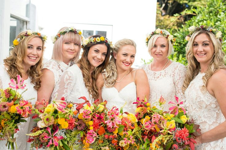 Autumn wedding with beautiful colours bouquets starting one of my favorite flowers (amongst other beauties) the gloriosa lily. Bridesmaid flower crowns all by febella flowers