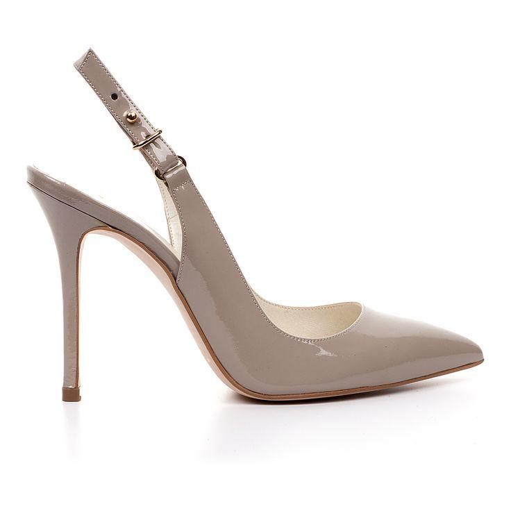 Code: 100400 Heel height: 10cm www.mourtzi.com #classy #grey #pumps #slingback