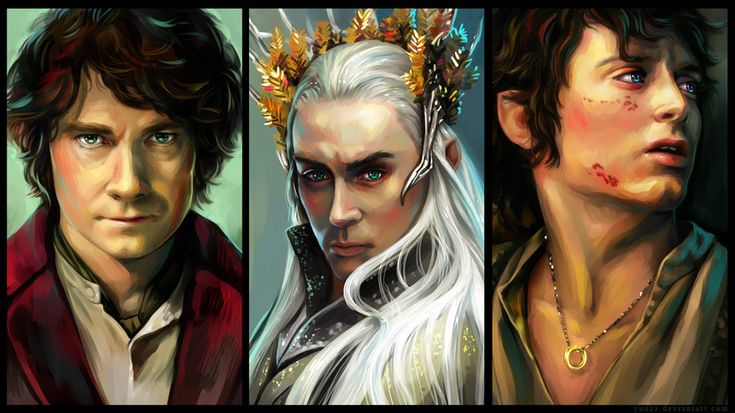 """The Burglar, The King and The Heir by Yuuza.deviantart.com on @deviantART - Bilbo and Thranduil from """"The Hobbit"""" and Frodo from """"Lord of the Rings"""""""