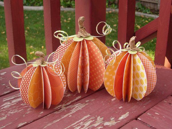 pumpkins: Pumpkin Crafts, Crafts Ideas, Fall Decor, Fall Crafts, Pumpkins, Paper Pumpkin, Scrapbook Paper, Centerpieces, Halloween