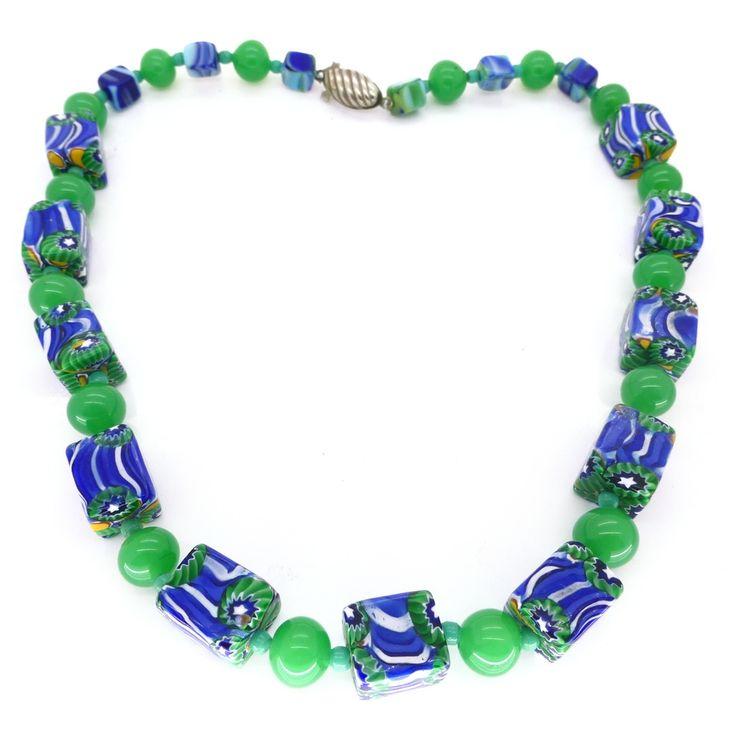 Vintage veneziano in stile Art Déco Matched Millefiori Cubed Bi Colour Glass Bead Necklace | Clarice Gioielli | Vintage Bigiotteria