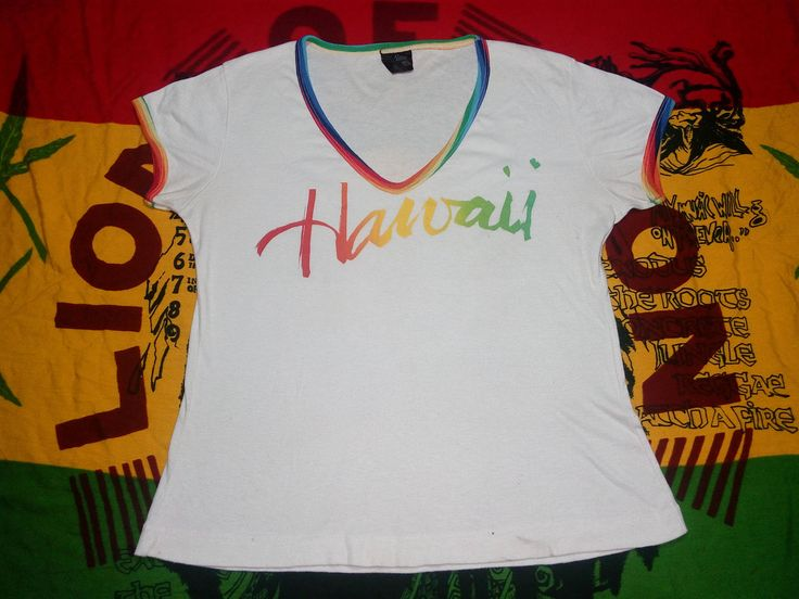Vintage Hawaii Rainbow Ringer for Ladies Poly-Cotton Material Big Print HAWAII by bulatstore on Etsy