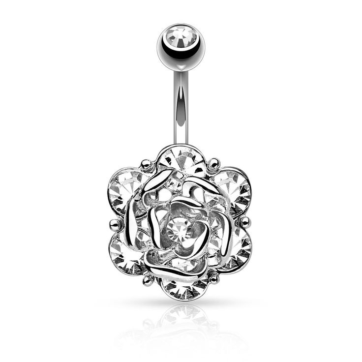 Gold Flower with Gems Belly Ring 14ga Surgical Steel Body Jewelry Navel Ring