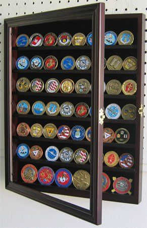 56 Military Challenge Coin Display Case Cabinet Rack Holder, with door - Mahogany Finish (COIN56-MA) $45.95