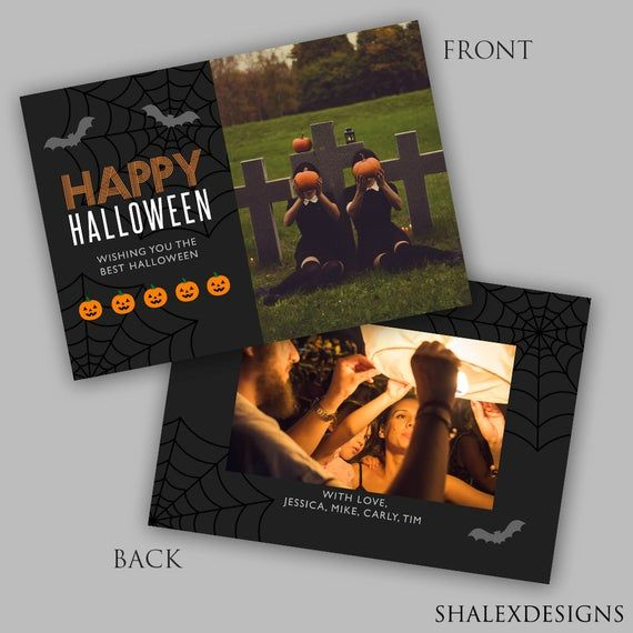 Halloween Card Photoshop Template – Holiday Card – Photoshop PSD *INSTANT DOWNLO…