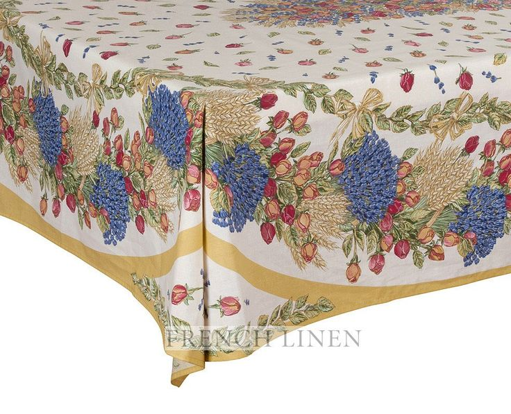 french linen cotton rectangle tablecloth with rose and lavender design