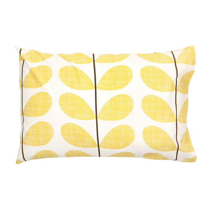 Discover+the+Orla+Kiely+Scribble+Soft+Pillowcases+-+Set+of+2+-+Lemon+at+Amara