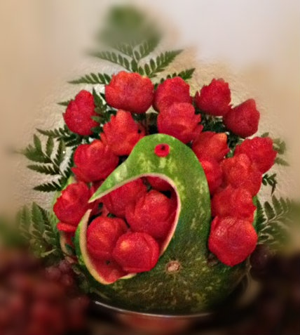 Swan Watermelon Fruit Craving with Strawberry Roses, Royal Catering