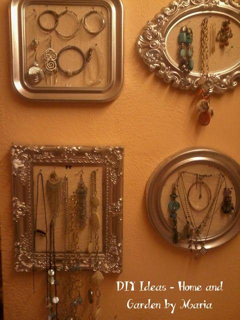 DIY Ideas - Home and Garden by Maria: Οργάνωση Κοσμημάτων σε Καδράκια.
