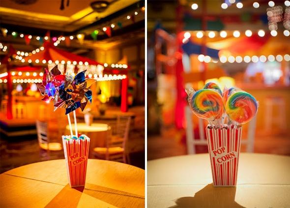 Pinwheel lollipop centerpieces in popcorn boxes instead
