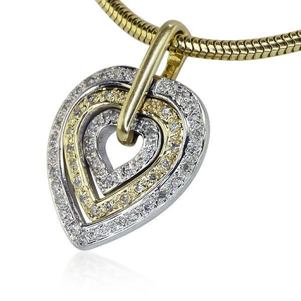 Schlangenkette mit Diamant-Herzanhänger bi-color 14 kt und 0,23ct Diamanten #collier #halskette #schmuck #vintage #herz