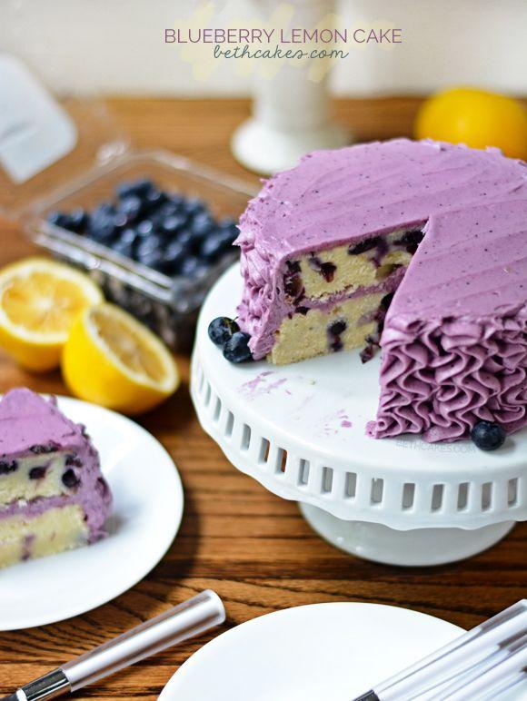Blueberry Lemon Cake with the best blueberry frosting! - bethcakes.com @bethcakesblog