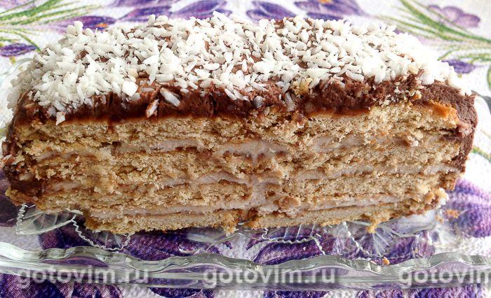 торт банановый без выпечки из печенья
