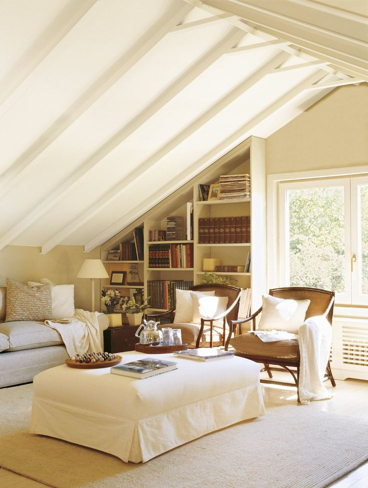 Country attic living room