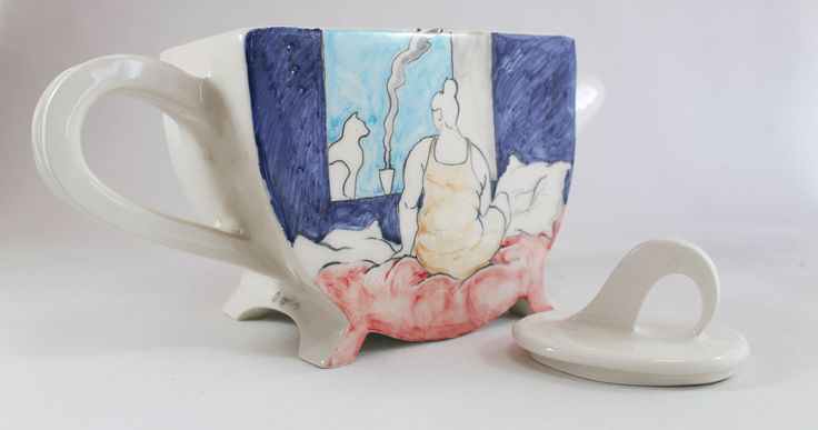 lady & cat teapot by Giannis Agathos