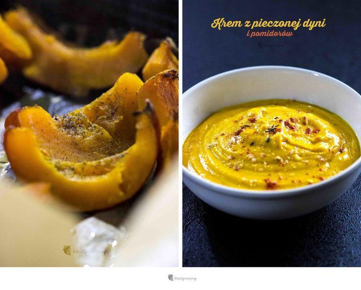 Zupa krem z pieczonej dyni i pomidorów