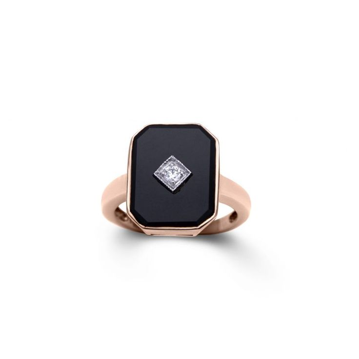 9ct Rose Gold Art Deco Style Onyx And Diamond Ring