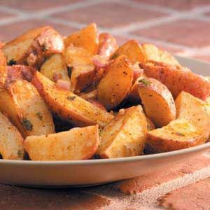 Roasted Cajun Potatoes *Red potatoes *Olive oil *Shallots *Garlic *Paprika *Cayenne pepper *Parsley