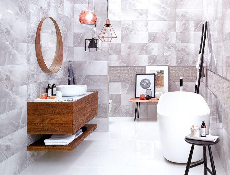 Glazed ceramic tiles Pedra, 60x25 cm. Classy and elegant basic tiles decorated with Vista decor inspired by subtle azulejo motif