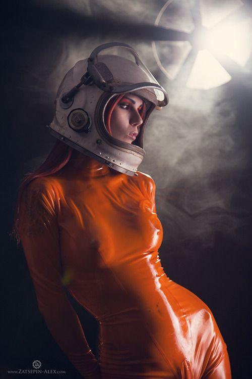 sexy women in latex science fiction uniform