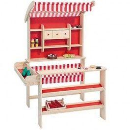 Playwood houten winkeltje. met rood en witte kleuren.