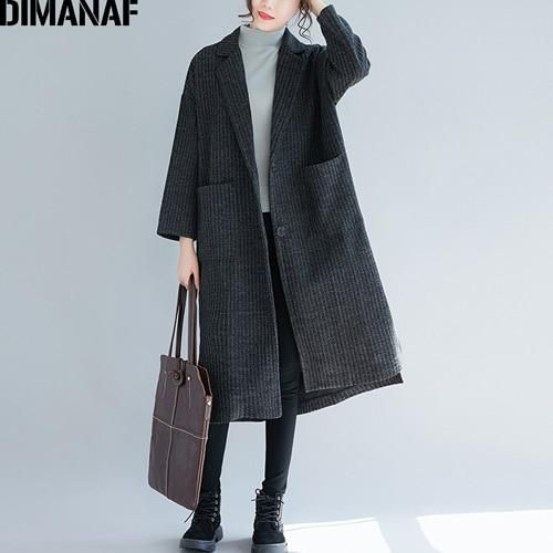 Women Jacket Long Coat Autumn Winter Plus Size Cardigan Female Office Lady Vintage Outerwear Elegant Loose Clothing 2018 Yan9923 2