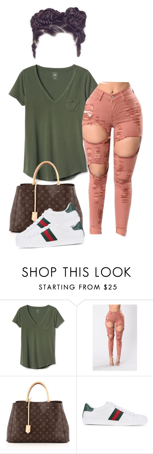 """""""Apuntar más alto"""" by queenofslay ❤ liked on Polyvore featuring Gap, Louis Vuitton and Gucci"""