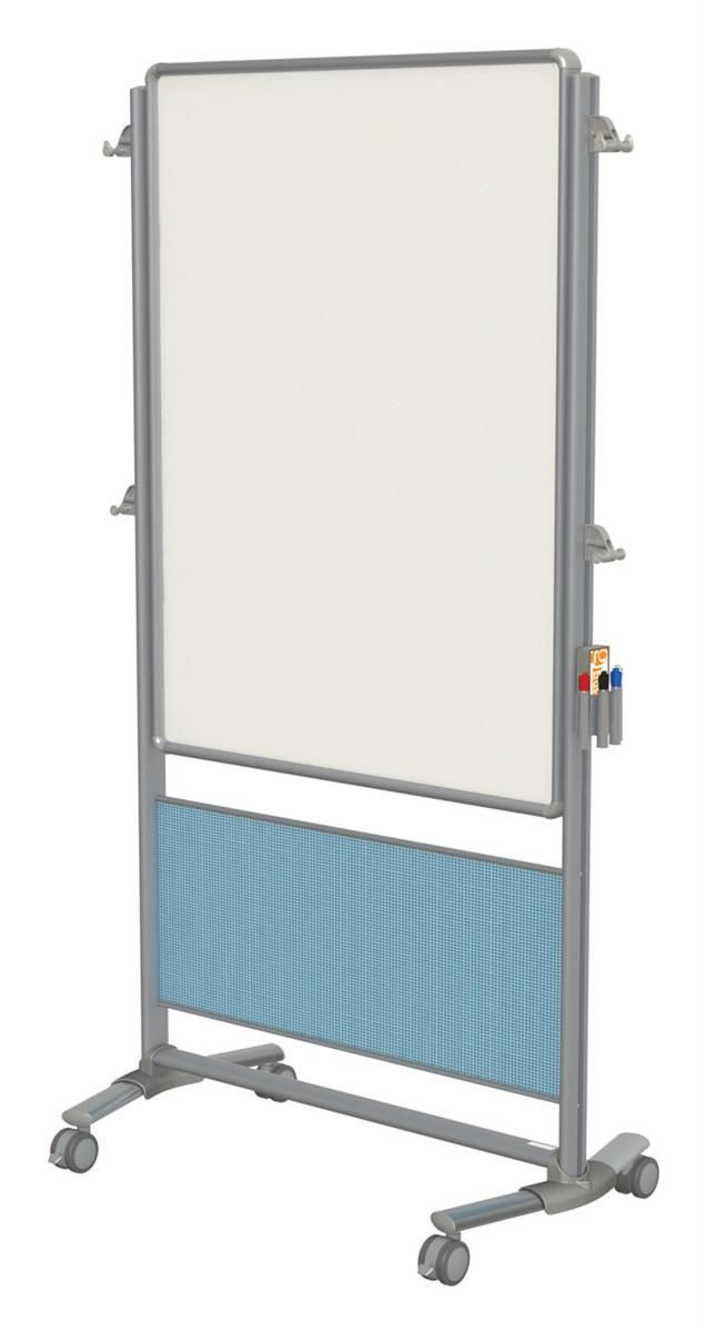 41u201d x 76u201d whiteboard double sided easel with wheels blue accent panel