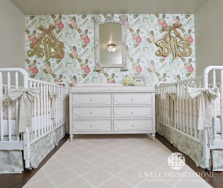 Twin Girls' Nursery by A Well Dressed Home, LLC. To read more about this project, please go here: http://awelldressedhome.com/3809-before-after-a-twin-girls-nursery-reaveal/