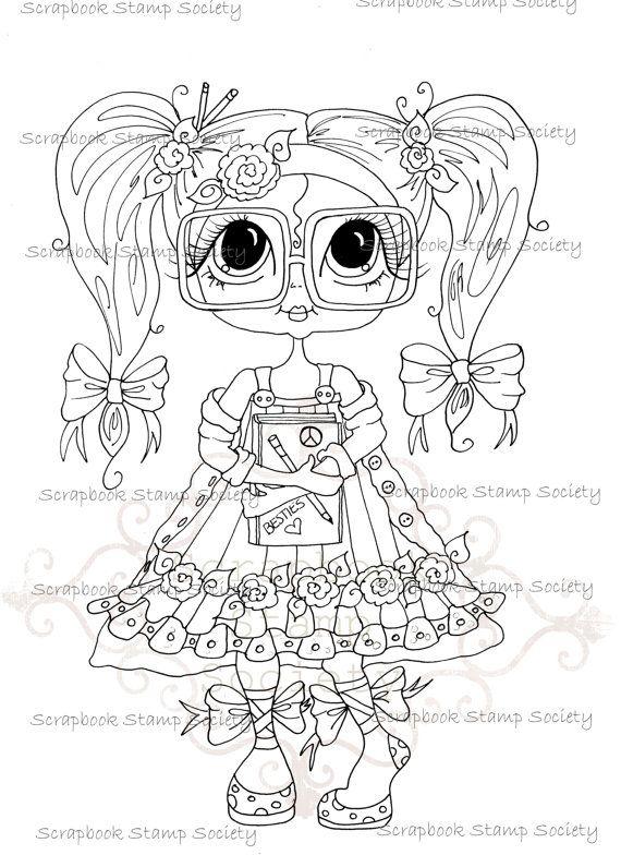 INSTANT DOWMLOAD Digital Digi Stamps Big Eye Big Head Dolls Digi  My Besties IMG761 By Sherri Baldy