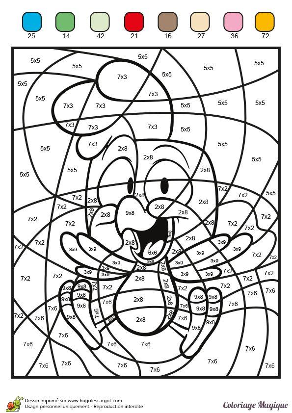 Colorier ce petit poulet tout en apprenant la for Multiplication pour enfant