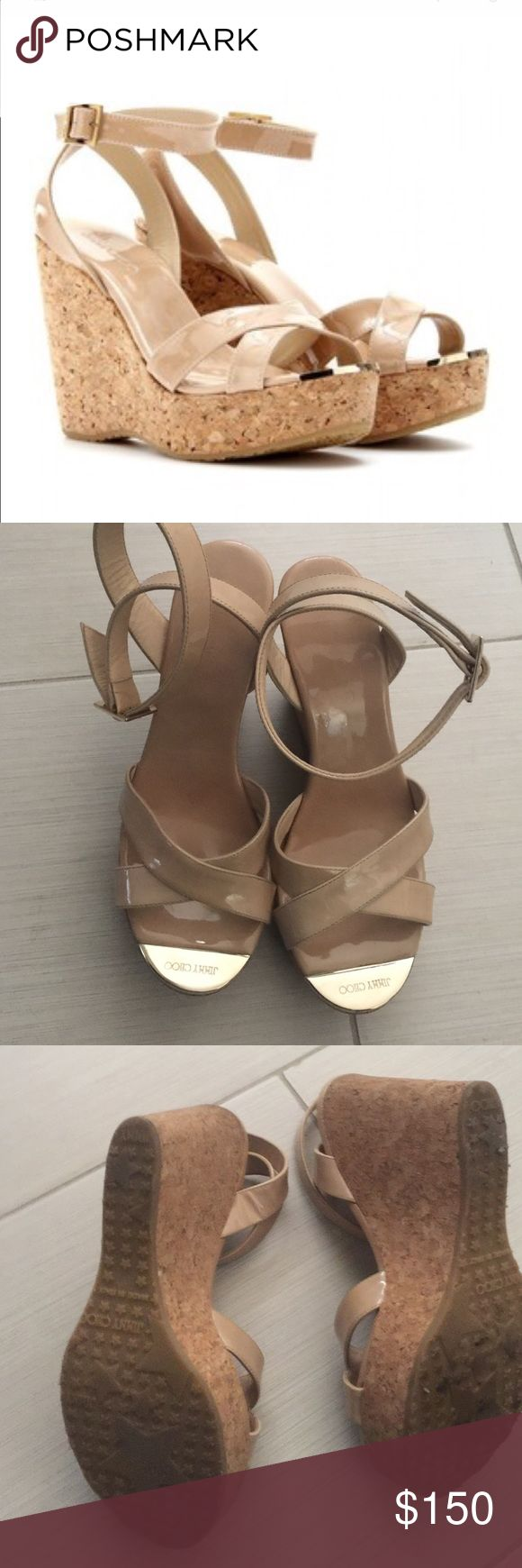 "Jimmy choo wedges patent leather Nude patent wedge. Cross cross straps over open toe with golden logo engraved plates     4 1/4"" wedge heel worn twice Jimmy Choo Shoes Wedges"