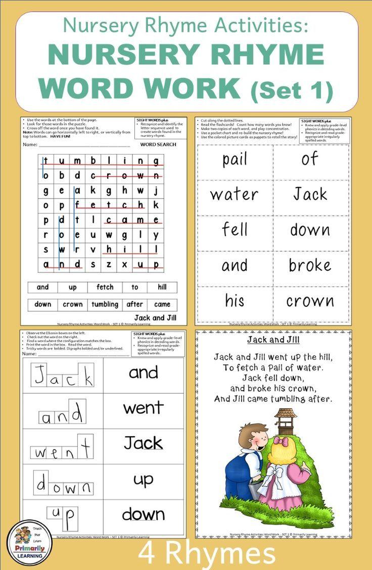 medium resolution of Nursery Rhymes Sight Word Activities Set 1   Distance Learning   Word  activities