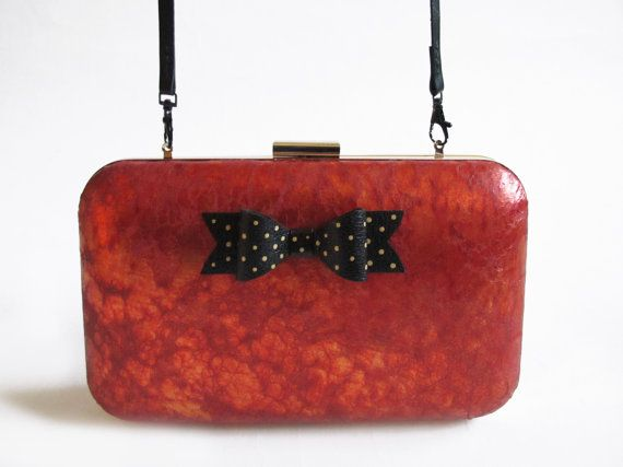 Flame Up! XL Little Black Bow Clutch Gold Dots/ Lambskin Leather Clutch/ Handcrafted/ Handmade