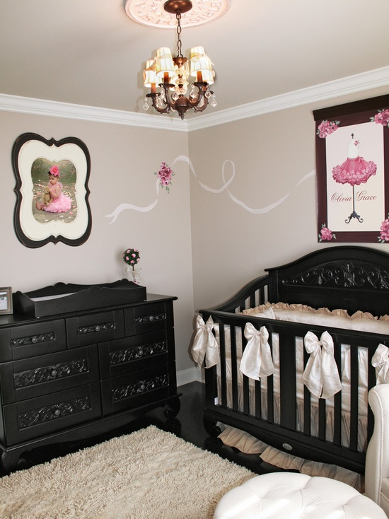 kids pink black and white baby nursery design pictures remodel