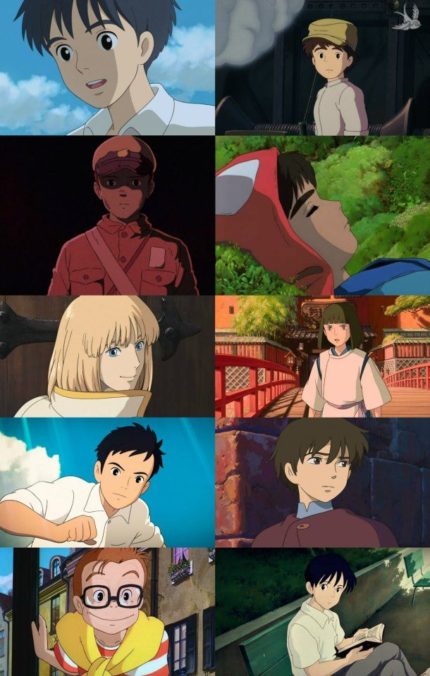 Ghibli boys: Arietty, Castle in the Sky, Grave of the Fireflies, Mononoke Hime, Howl's Moving Castle, From up on a Poppy Hill, Tales from Earthsea, Kiki's Delivery Service, and then Whisper of the Heart