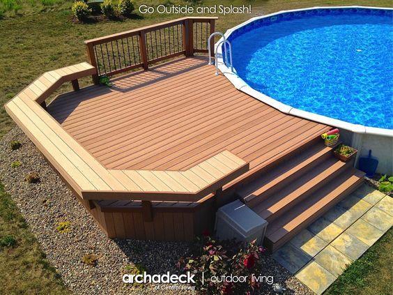 Best 25 above ground pool decks ideas on pinterest for Above ground pool decks canada