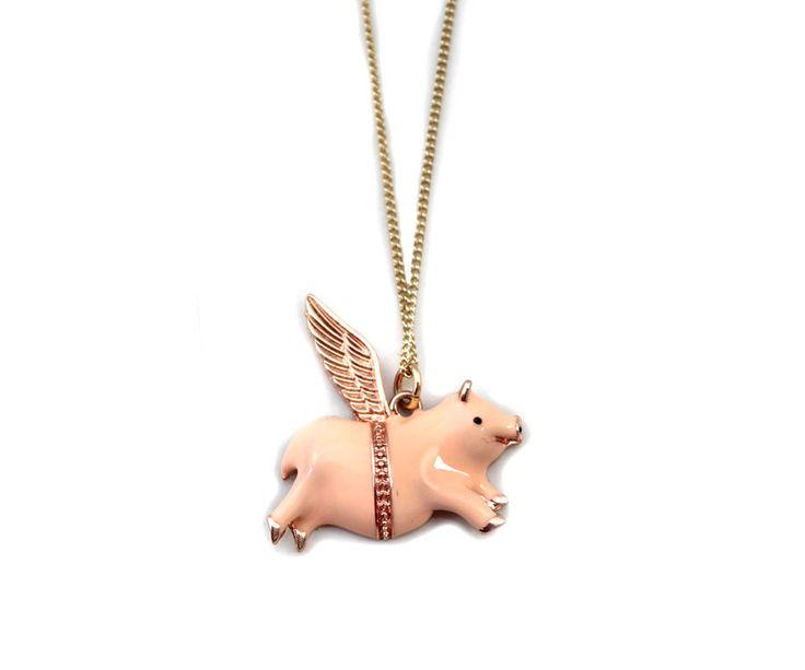 cerdo volador en metal esmaltado - bijou