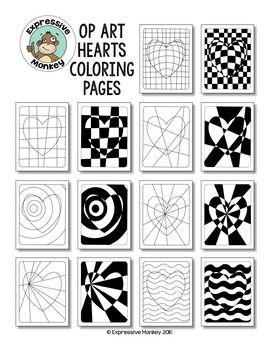 Op Art Hearts Coloring PagesElaina Stroh