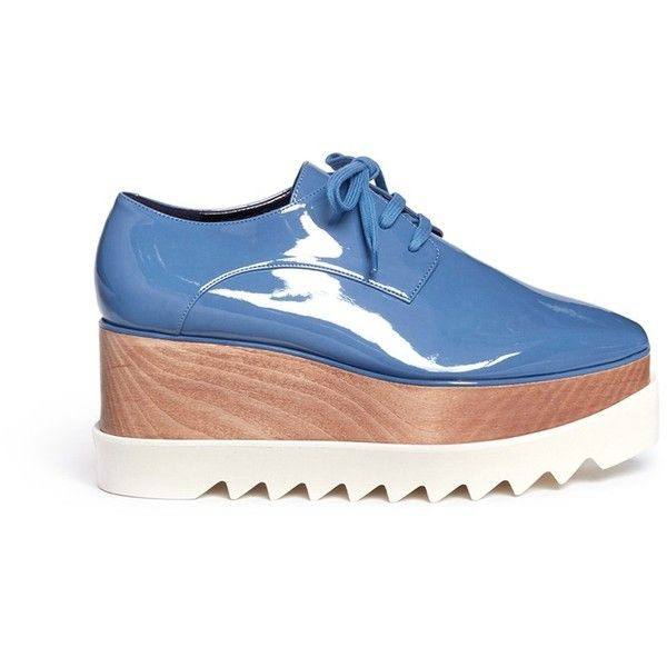 Stella McCartney 'Elyse' eco patent leather wood platform derbies found on Polyvore featuring shoes, oxfords, flats, scarpe, blue, blue patent flats, wooden platform shoes, flat shoes, patent leather shoes and blue flats