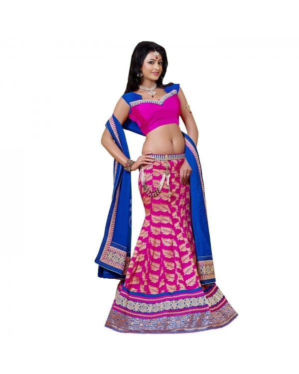 Pink Zari Work Lehenga only @Rs.5,820 55% OFF   Click Here To Buy:- http://www.ethnicstation.com/pink-zari-work-lehenga-rc5516  #ZariWorkLehenga #EthnicWear