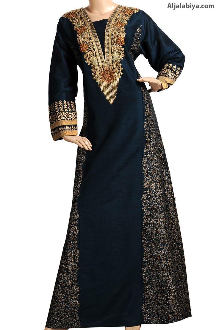 Olitha Black Shantung cotton kaftan with embroidery (N-13363-18) $169.00