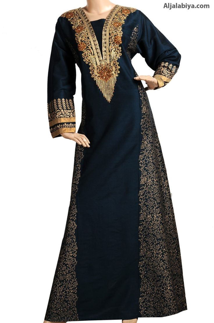 "aljalabiya: ""Olitha Black"" Shantung cotton kaftan with embroidery (N-13363-18) $169.00"