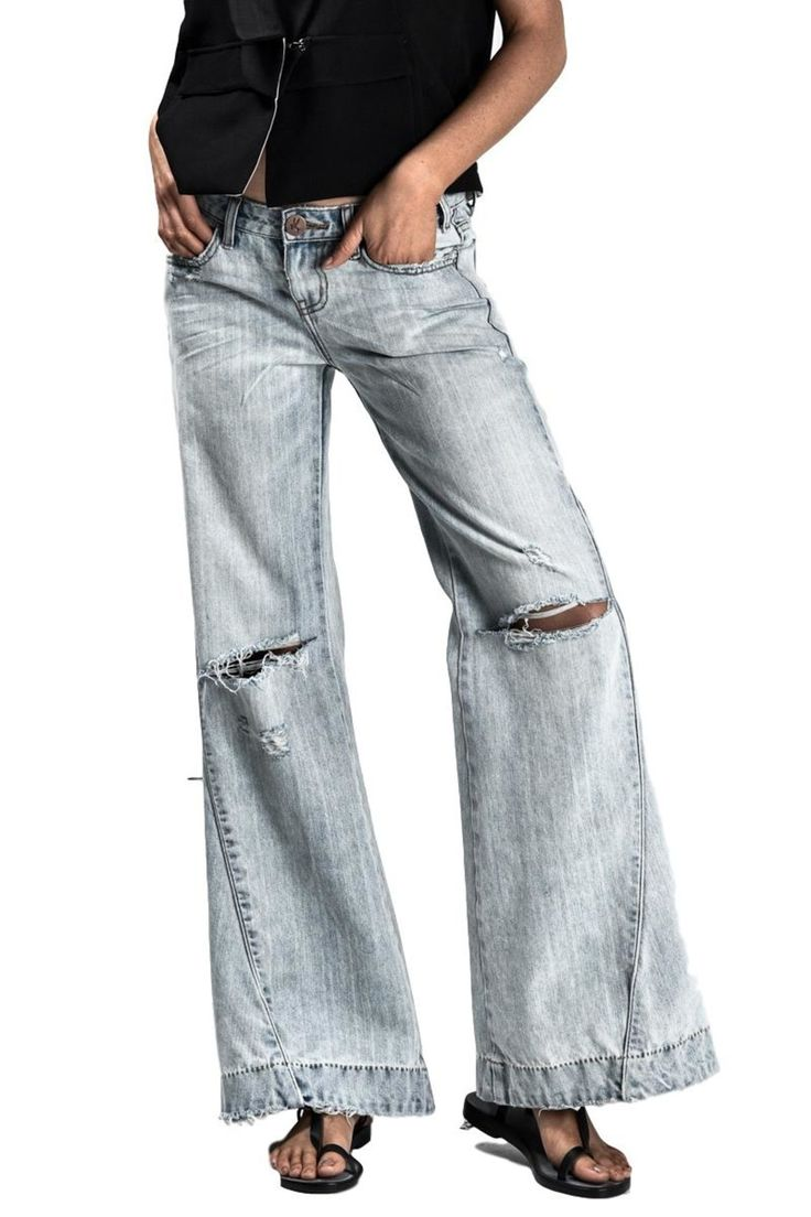 Low waist jeans with wide legs, relaxed fit, panel side detail and 4 pocket styling.   Florence Johnnies Jean by One Teaspoon. Clothing - Bottoms - Jeans & Denim - Flare & Wide Leg Clothing - Bottoms - Jeans & Denim Canada