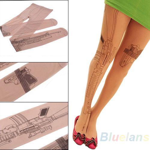 Sexy Machine Gun Tattoo  Transparent Tights  Stockings Pantyhose  05WH
