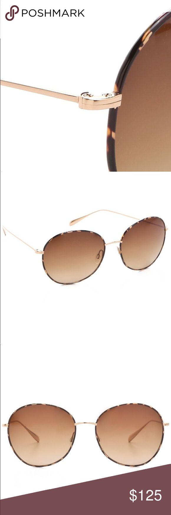 """Oliver Peoples Blondelle Round Sunglasses G-Havana New Oliver Peoples Sunglasses from Off Saks 5th. Sunglasses were on display. Made for Joan Blondell, actress. These sunglasses feature a tortoiseshell wire frame and polarized, gradient lenses. Round shape, adjustable nose pads.  Frame  6"""" wide (measured from temple edges) and 2.25"""" high. Titanium. Left temple marked: TITANIUM OV1102ST 514/9P Blondell 60 17 135 2P Right temple marked Oliver Peoples Polarized Made in Japan Made in Japan…"""