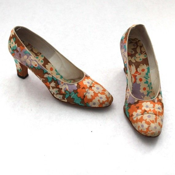 Vintage Floral Ladies High Heel Shoes in by persnicketyvintage, $28.00